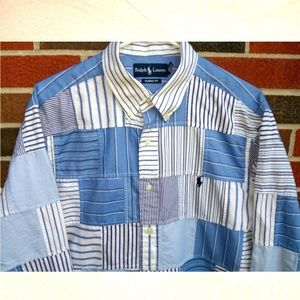 Polo by Ralph Lauren men's Large plaid patchwork